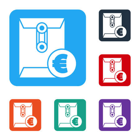 White Envelope with euro symbol icon isolated on white background. Salary increase, money payroll, compensation income. Set icons in color square buttons. Vector Illustration