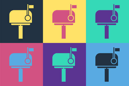Pop art Mail box icon isolated on color background. Mailbox icon. Mail postbox on pole with flag. Vector Illustration
