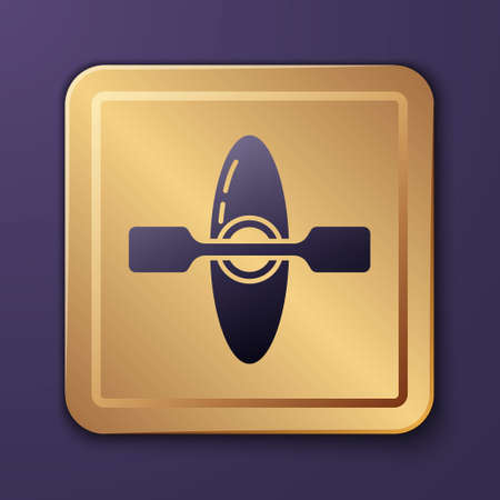 Purple Kayak and paddle icon isolated on purple background. Kayak and canoe for fishing and tourism. Outdoor activities. Gold square button. Vector Illustration