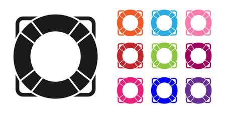 Black Lifebuoy icon isolated on white background. Lifebelt symbol. Set icons colorful. Vector Illustration Stock Illustratie