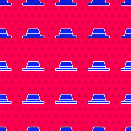 Blue Man hat with ribbon icon isolated seamless pattern on red background. Vector Illustration