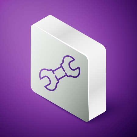 Isometric line Wrench spanner icon isolated on purple background. Silver square button. Vector Illustration