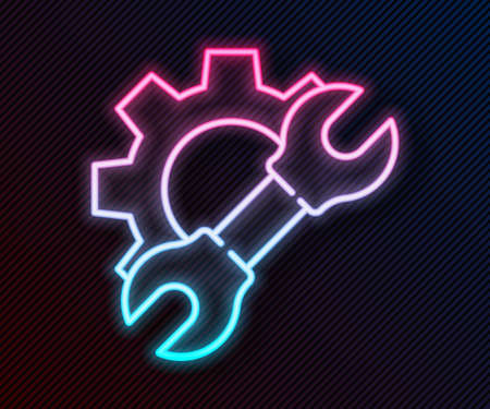 Glowing neon line Wrench spanner and gear icon isolated on black background. Adjusting, service, setting, maintenance, repair, fixing. Vector Illustration
