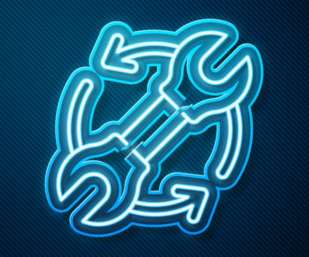 Glowing neon line Wrench spanner and arrows as workflow icon isolated on blue background. Adjusting, service, setting, maintenance, repair, fixing. Vector Illustration Vettoriali
