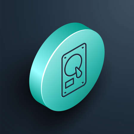 Isometric line Hard disk drive HDD icon isolated on black background. Turquoise circle button. Vector Illustration