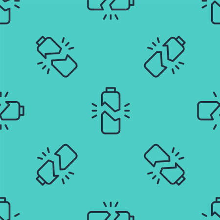 Black line Broken battery icon isolated seamless pattern on green background. Vector Illustration
