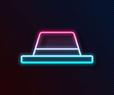Glowing neon line Man hat with ribbon icon isolated on black background. Vector Illustration