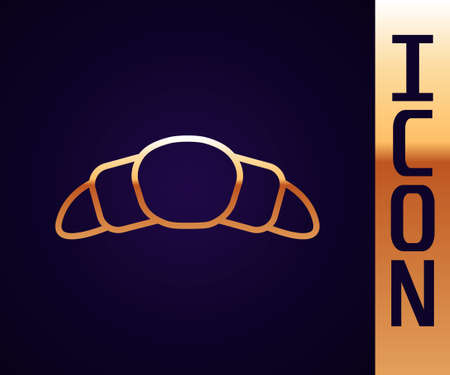 Gold line Croissant icon isolated on black background. Vector Illustration