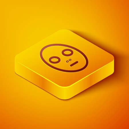 Isometric line Facial cosmetic mask icon isolated on orange background. Cosmetology, medicine and health care. Yellow square button. Vector Illustration 向量圖像