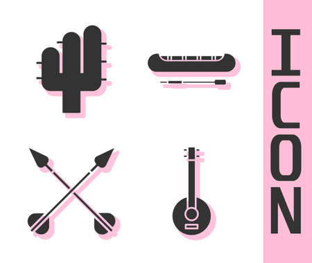 Set Banjo, Cactus, Crossed arrows and Kayak or canoe and paddle icon. Vector Ilustrace
