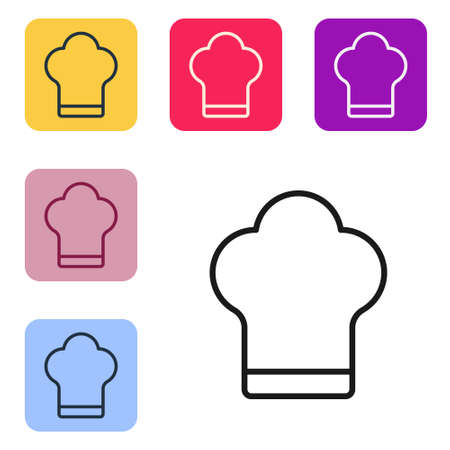 Black line Chef hat icon isolated on white background. Cooking symbol. Cooks hat. Set icons in color square buttons. Vector Illustration 向量圖像