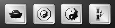 Set Sushi, Yin Yang, Yin Yang and Bamboo icon. Silver square button. Vector
