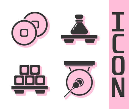 Set Gong, Chinese Yuan currency, Sushi on cutting board and Dumpling on cutting board icon. Vector