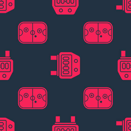 Set Air hockey table and Stopwatch on seamless pattern. Vector