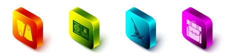 Set Isometric Rubber flippers, Passport, Sunbed and Hiking backpack icon. Vector