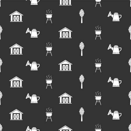 Set Honey dipper stick, Watering can, Farm house and Barbecue grill on seamless pattern. Vector