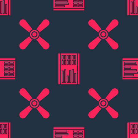 Set Plane propeller and Airport board on seamless pattern. Vector