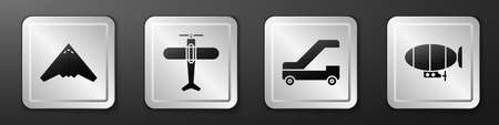 Set Jet fighter, Plane, Passenger ladder for plane boarding and Airship icon. Silver square button. Vector Ilustração