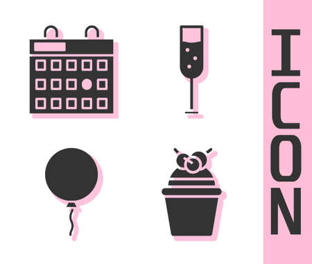 Set Cake, Birthday calendar, Balloon with ribbon and Glass of champagne icon. Vector