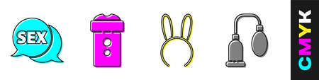 Set Speech bubble with Sex, Vagina masturbator, Mask with long bunny ears and Penis pump icon. Vector