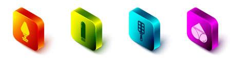 Set Isometric Anal plug, Dildo vibrator, Spanking paddle and Woman panties icon. Vector