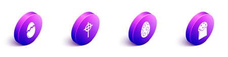 Set Isometric Broken egg, Christian cross, Easter egg and Easter cake icon. Vector