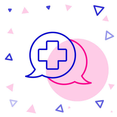 Line Dialogue with the doctor icon isolated on white background. Doctor and patient dialog. Consulting about medical health services. Colorful outline concept. Vector Illustration