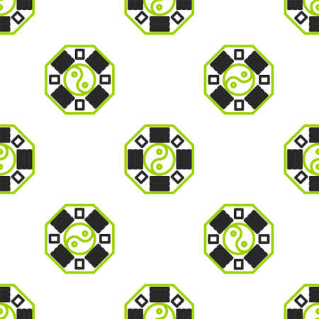 Line Yin Yang symbol of harmony and balance icon isolated seamless pattern on white background. Vector Illustration