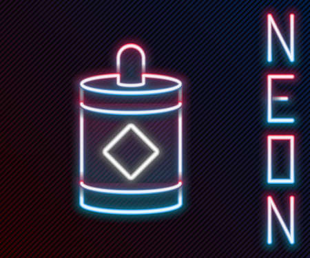 Glowing neon line Firework icon isolated on black background. Concept of fun party. Explosive pyrotechnic symbol. Colorful outline concept. Vector Illustration 矢量图像