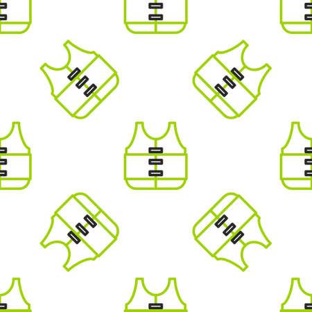 Line Life jacket icon isolated seamless pattern on white background. Life vest icon. Extreme sport. Sport equipment. Vector Illustration