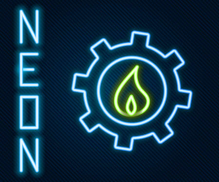 Glowing neon line Oil and gas industrial factory building icon isolated on black background. Colorful outline concept. Vector Illustration