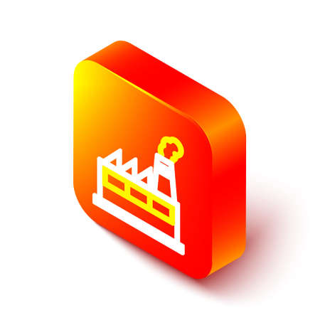Isometric line Oil and gas industrial factory building icon isolated on white background. Orange square button. Vector Illustration