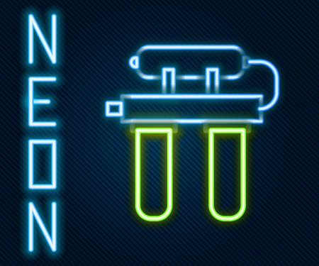 Glowing neon line Water filter icon isolated on black background. System for filtration of water. Reverse osmosis system. Colorful outline concept. Vector Illustration
