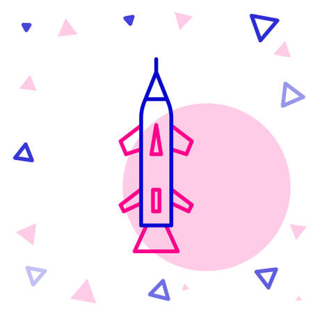 Line Rocket icon isolated on white background. Colorful outline concept. Vector Illustration