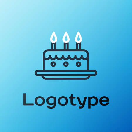 Line Cake with burning candles icon isolated on blue background. Happy Birthday. Colorful outline concept. Vector Illustration Illustration