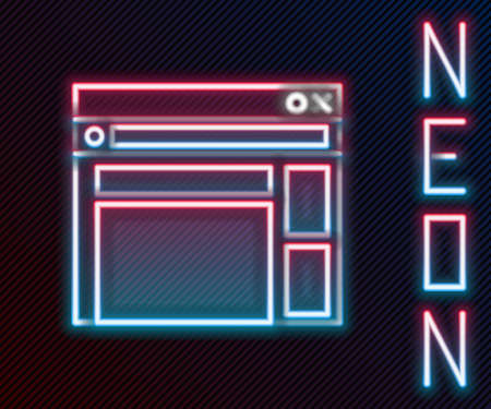 Glowing neon line Website template icon isolated on black background. Internet communication protocol. Colorful outline concept. Vector Illustration