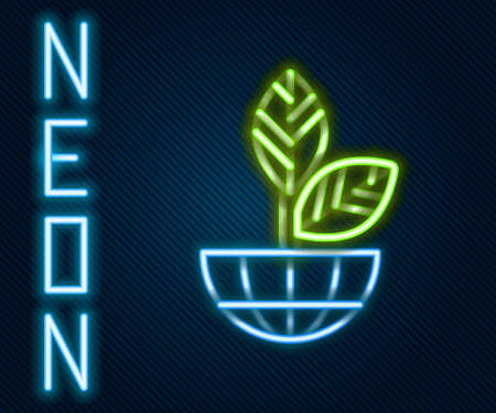 Glowing neon line Earth globe and plant icon isolated on black background. World or Earth sign. Geometric shapes. Environmental concept. Colorful outline concept. Vector Illustration Illusztráció