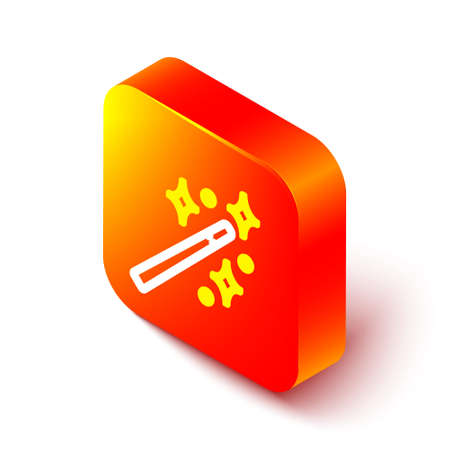 Isometric line Magic wand icon isolated on white background. Star shape magic accessory. Magical power. Orange square button. Vector Illustration Vectores