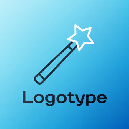 Line Magic wand icon isolated on blue background. Star shape magic accessory. Magical power. Colorful outline concept. Vector Illustration