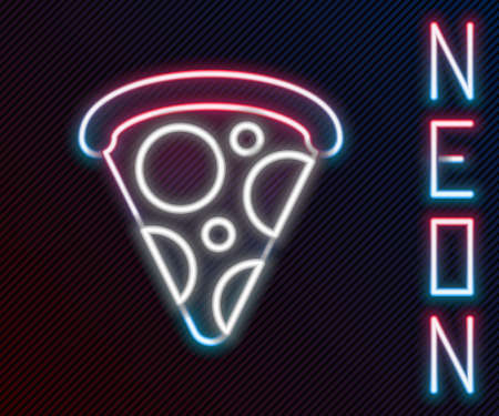 Glowing neon line Slice of pizza icon isolated on black background. Fast food menu. Colorful outline concept. Vector Illustration 向量圖像