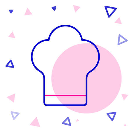 Line Chef hat icon isolated on white background. Cooking symbol. Cooks hat. Colorful outline concept. Vector Illustration