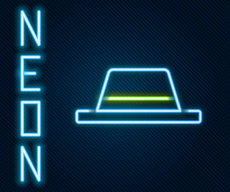 Glowing neon line Man hat with ribbon icon isolated on black background. Colorful outline concept. Vector Illustration Ilustracja