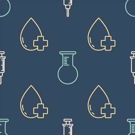 Set line Syringe, Donate drop blood with cross and Test tube and flask on seamless pattern. Vector