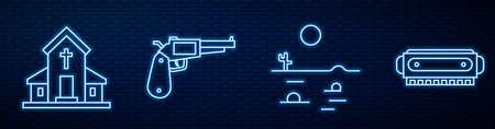 Set line Desert landscape with cactus, Church building, Revolver gun, Harmonica and Road traffic signpost. Glowing neon icon on brick wall. Vector Illusztráció