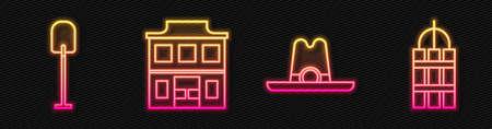 Set line Western cowboy hat, Shovel, Wild west saloon and Detonate dynamite bomb stick. Glowing neon icon. Vector Stock Illustratie