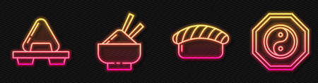 Set line Sushi, Sushi on cutting board, Rice in a bowl with chopstick and Yin Yang. Glowing neon icon. Vector Ilustração