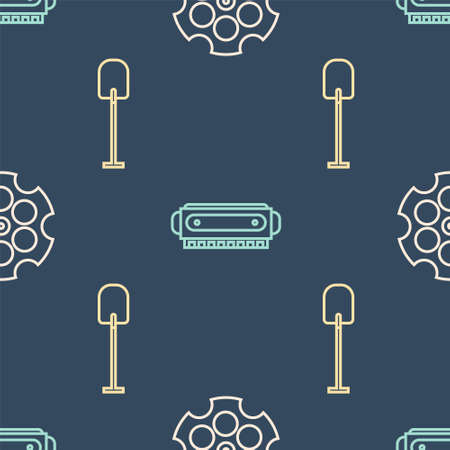 Set line Revolver cylinder, Shovel and Harmonica on seamless pattern. Vector
