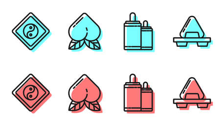 Set line Firework, Yin Yang, Peach fruit and Sushi on cutting board icon. Vector