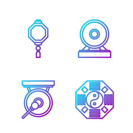 Set line Yin Yang, Gong, Chinese paper lantern and Gong. Gradient color icons. Vector