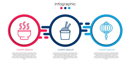 Set line Chinese tea ceremony, Asian noodles in paper box and chopsticks and Chinese paper lantern. Business infographic template. Vector